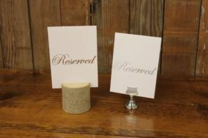 White & Silver Reserved Signs