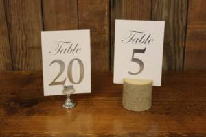 White & Silver Table Numbers