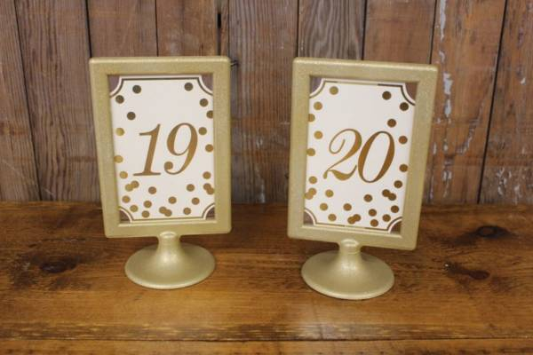 Gold Polka Dot Table Numbers