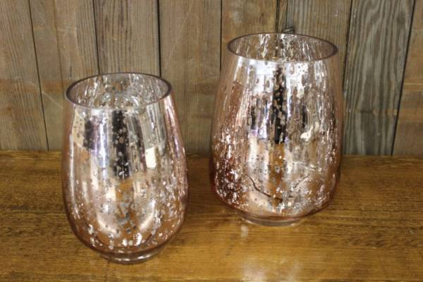 Pink Mercury Glass Vases-M