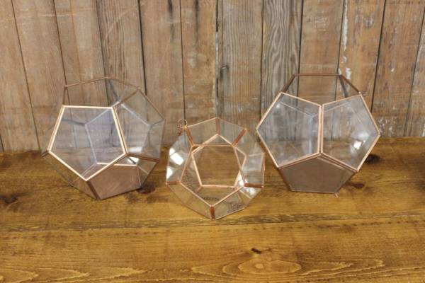 Copper Geometric Terrarium-L