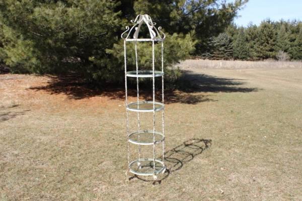 4-Tier Cream Metal & Glass Stand