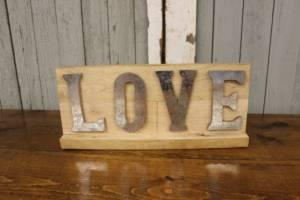 Galvanized 'LOVE' Sign
