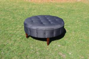 Charcoal Round Ottoman