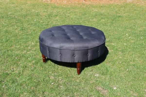 Charcoal Round Ottoman