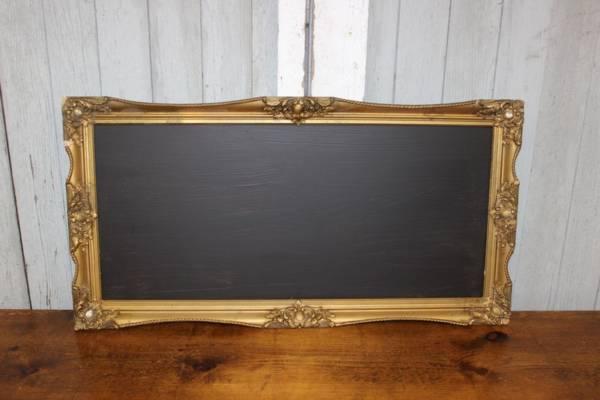F259: Vintage Gold Rectangular Chalkboard